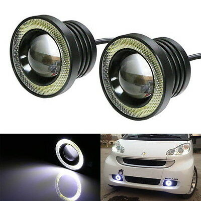 "15W High Power 2.5"" Projector LED Fog Light w/ LED Halo Angel Eyes Rings For Car"