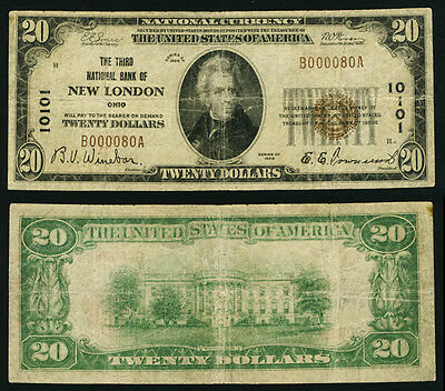 New London OH $20 1929 T-1 National Bank Note Ch #10101 Third NB Net Fine