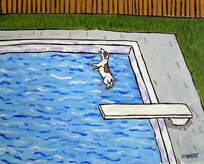 JACK RUSSELL TERRIER dog at the pool 8x10 signed art PRINT poster painting gift