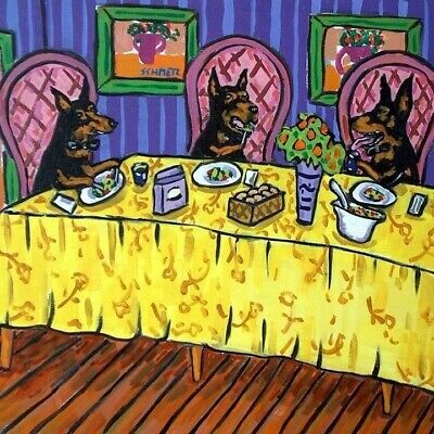 Doberman pinscher dog art tile coaster gift the dinner party