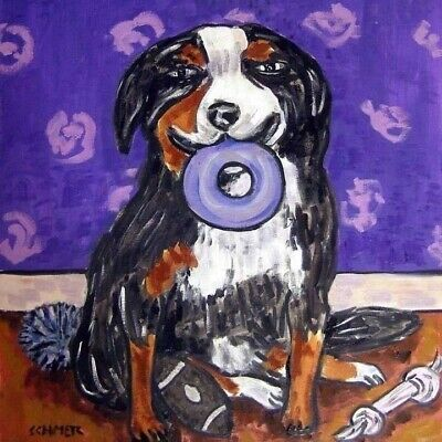 Bernese mountain dog art tile coaster gift modern JSCHMETZ