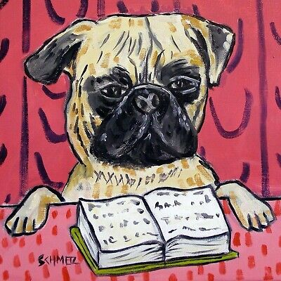 pug dog art tile coaster gift JSCHMETZ reading library librarian gift