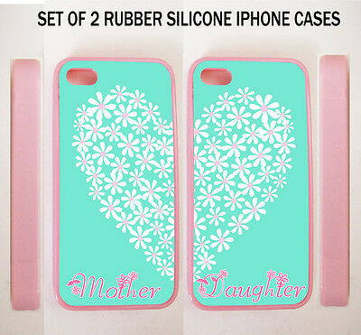 TIFFANY MINT FLORAL HEART MOTHER DAUGHTER BFF BEST CASES For iPhone 7 6S 6 SE 5S