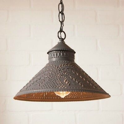 Stockbridge Hanging Shade Light Willow Punched Tin Ceiling lamp Kitchen Irvins