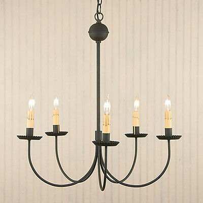 Large 5-Arm Colonial Revival Primitive Chandelier in Textured Black Dining Room
