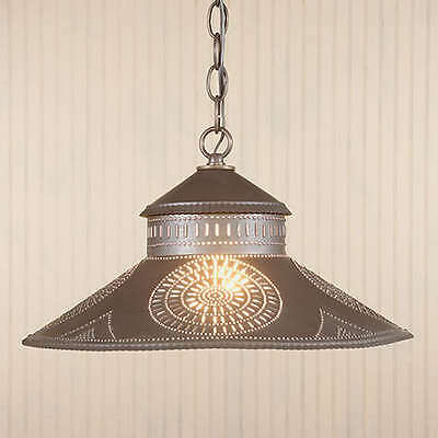 Shopkeeper Pendant Shade Down Light Chisel Punched Tin Design Rustic Fixture NEW