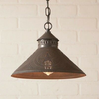 Stockbridge Hanging Shade Light with Country Primitive Punched Tin Star accent
