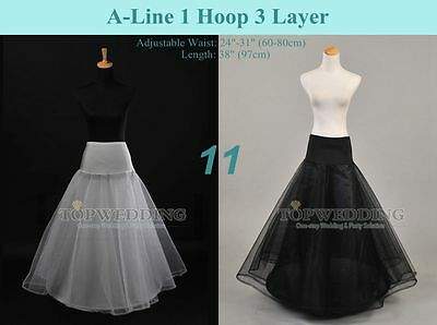 White Black A-Line Petticoat Slips Wedding Underskirt Bridal Crinoline(US STOCK)