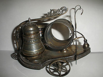 Antique Victorian Derby Silver Co Plated Combination Set Wagon Napkin Ring Salt