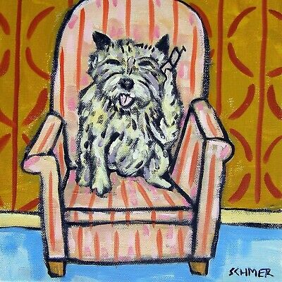 cairn terrier dog art tile coaster gift JSCHMETZ on chair with cell phone