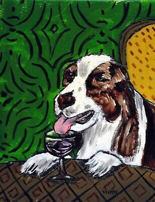 English Springer Spaniel dog at the wine bar signed dog art print 8x10
