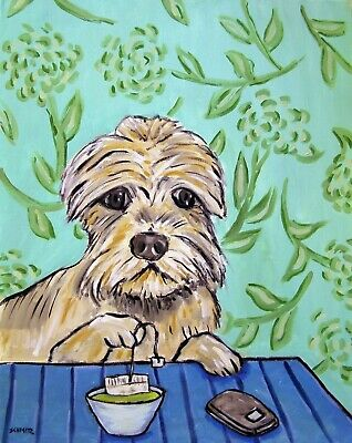 Dandie Dinmont dog PRINT tea room art 11x14 modern folk art JSCHMETZ