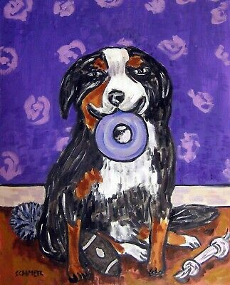 BERNESE MOUNTAIN  dog with dog toy PRINT poster gift modern folk 11x14