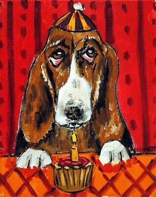 Basset hound birthday poster dog art PRINT abstract folk pop ART JSCHMETZ 11x14