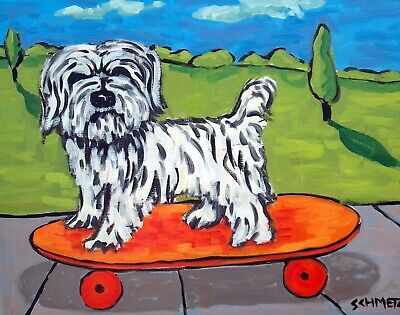 Havanese SKATE boarding 11x14 signed art PRINT dog animals impressionism artist