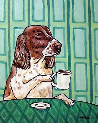 english springer spaniel dog art PRINT - coffee art - 11x14 PRINT - coffee print