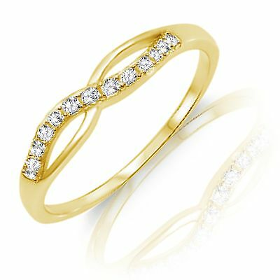 14k Yellow Gold Infinity Celtic White Sapphire Sterling Silver Ring