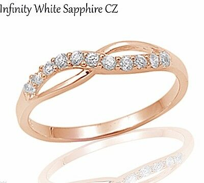 14k Rose Gold Infinity Celtic White Sapphire Sterling Silver Ring Size 3 - 12