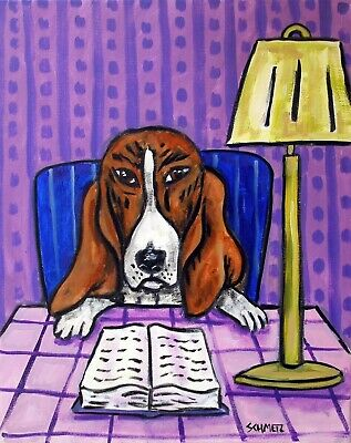 BASSET HOUND dog reading 11x14 signed art PRINT poster gift librarian