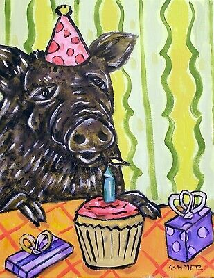 PIG birthday cup cake 8x10 signed art PRINT modern artwork