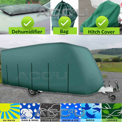 Maypole MP9533 14-19ft Breathable 4 PLY GREEN Caravan & Hitch Cover + DeMister