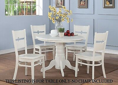 """One Dinette Kitchen Dining Table 42"""" Round - Without Chair In Linen White Finish"""