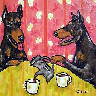 4x4  Doberman Pinscher dog glass art tile coaster gift JSCHMETZ modern folk tea