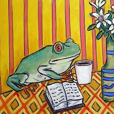4x4  frog  coffee glass art tile coaster gift JSCHMETZ modern folk new