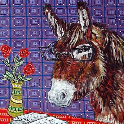 4x4  Donkey horse glass art tile coaster gift JSCHMETZ modern folk new