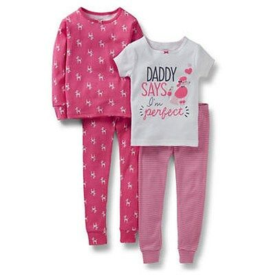 NEW Carter's 4 Piece Cotton Poodle Girl PJs NWT 2T 3T 4T 5T Daddy Says Perfect