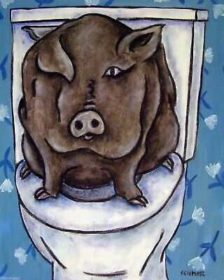 PIG in bathroom picture animal art        8.5x11 glossy photo print