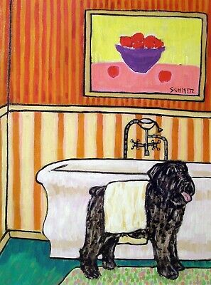 UVIER DES FLANDRES DRYING OFF dog prints 8.5x11 signed animals gift new