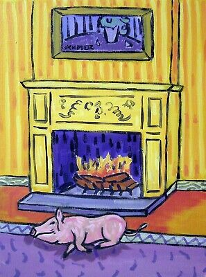of a pink PIG by the fireplace   gift modern folk art      8.5x11 glossy photo