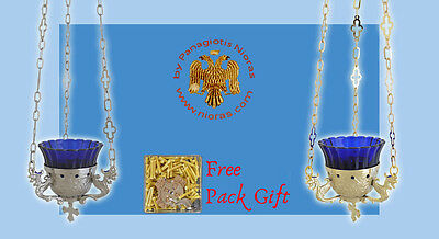 Orthodox Casting Brass Grape base design Hanging Oil Candle + FREE Wicks Ikone