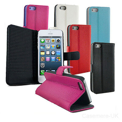 Flip Leather Wallet Case Cover For iPhone 5 & 5s