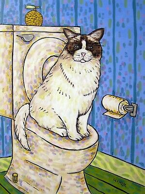 Fluffy cat in the bathroom signed art print gift artwork modern 13x19 glossy