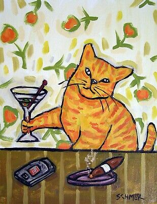 ORANGE ginger cat signed martini 13x19 glossy PHOTO PRINT poster gift JSCHMETZ