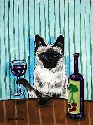 SIAMESE cat at the wine bar signed cat art print modern 13x19