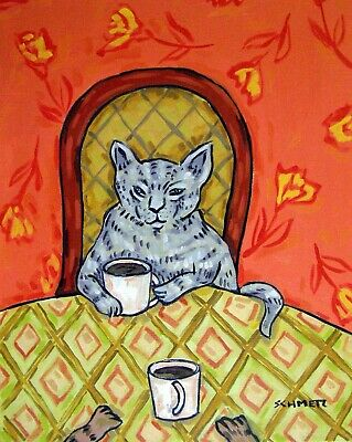 Grey cat coffee 11x14 signed art PRINT artwork gift