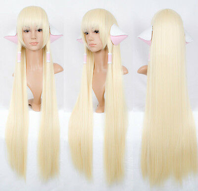 Chobits CHII long 100cm pale milk blonde COSPLAY wig Gift ears accessories O:10
