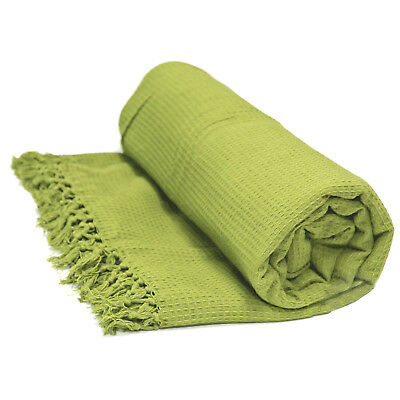 100% Cotton Honeycomb Throw - Pistachio Green Bedspread Bed / Sofa Throw Over