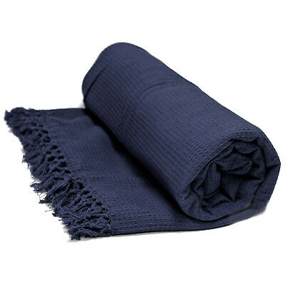100% Cotton Honeycomb Throw - Navy Blue Bedspread Bed / Sofa Throw Over