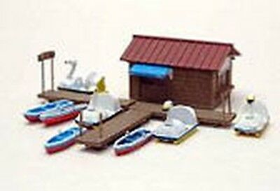 Tomytec N 1:150 Set with house, three pier elements, six boats and six swan boat