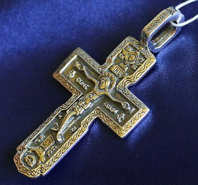 OLD STYLE BIG RUSSIAN ORTHODOX ICON CROSS, SILVER 925 NEW ! CHRISTIAN JEWELRY