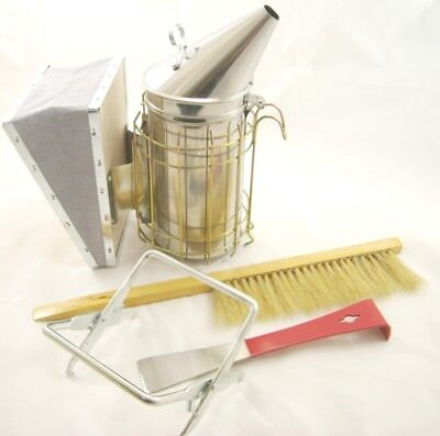 Stainless Bee Smoker Hive tool  Brush and Frame grip
