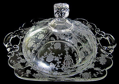 Cambridge Rose Point Round covered Butter dish 3400/52 (square knob) rare