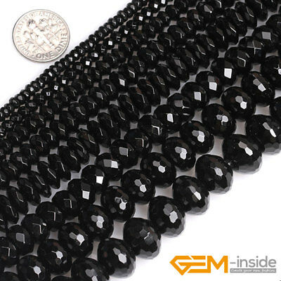"""Black Agate Onyx Gemstone Faceted Rondelle Spacer Beads For Jewelry Making 15"""""""