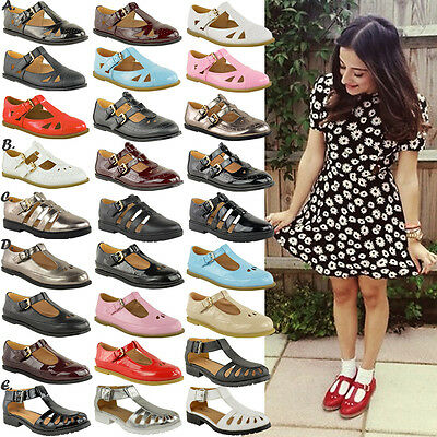 LADIES WOMENS GIRLS CUT OUT GEEK SHOES FLAT SCHOOL T BAR OFFICE PUMPS WORK SIZE