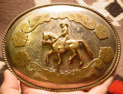 Awesome Old Alpaca Hand Engvd Horse Rider Belt Buckle Great Patina MAKE OFFER