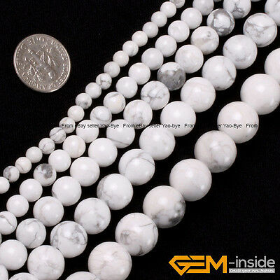 "Natural White Howlite Turquoise Gemstone Round Beads For Jewelry Making 15"" YB"